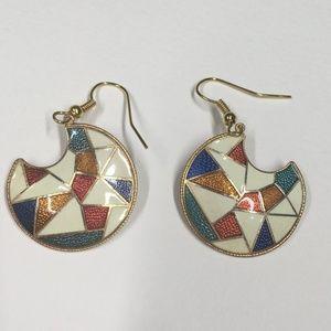 Vintage Geometric Cloisonne Earrings